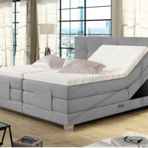 Boxspring completo con cabecero de cama elevable + somieres con compartimentos + colchón + cubrecolchón CHIMERE - gris claro - 2x80x200cm