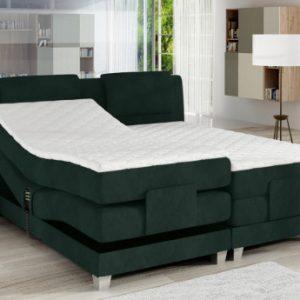 Pack boxspring cabecero + somieres de relajación eléctricos + colchones + cubrecolchón CASTEL de PALACIO - 2x80x200cm - Terciopelo verde