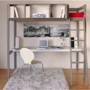 Cama alta GIACOMO - 90x190 cm - Escritorio y compartimentos integrados - Pícea gris