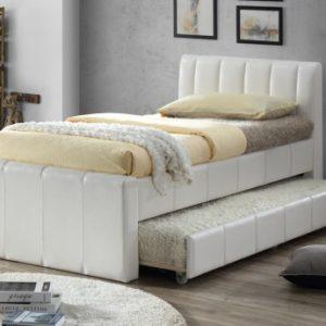 Cama nido ANDREA - 2x90x190cm - Piel sintética blanca