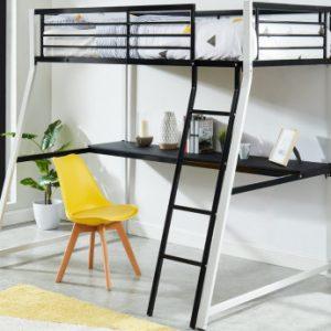 Cama alta MALICIO - 90x190 cm - Escritorio integrado - Negro y blanco