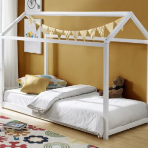 Cama infantil AVENTURIER - 90x190 cm - Pino - Blanco