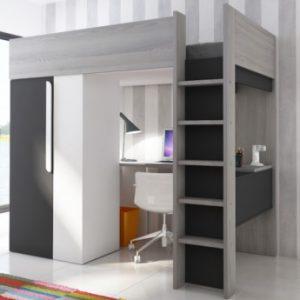 Cama en altura NICOLAS - 90 x 200 cm - con armario y escritorio - Antracita y blanco