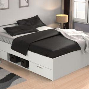 Cama GASPARD con cajones - 140x190cm - Color blanco