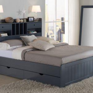 Estructura de cama MEDERICK con almacenaje - 140x190 cm - Pino gris