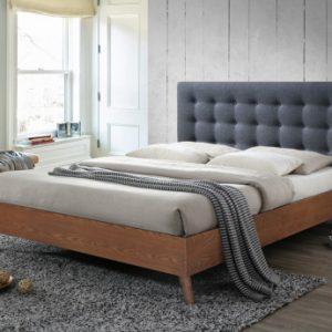 Cama FRANCESCO 140x190cm - Tela gris