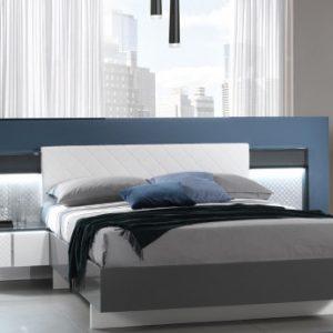 Cama CONSCIENCE - 160x200cm - 2 mesas de noche con LEDs - Lacado blanco y gris