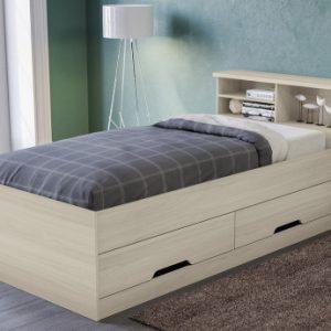 Cama BORIS con espacios de almacenaje - Roble - 90x190cm