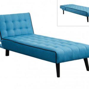 Chaise longue cama BAYOU de tela - Azul y ribete negro