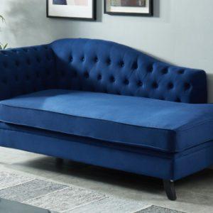 Chaise longueizquierdo) de algodón y lino DIPLOMATIE - Azul noche