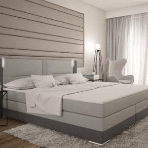 Conjunto boxspring completo cabecero con Leds + somieres + colchón + cubrecolchón ASTI - 2x80x200 cm - piel sintética - Antracita y gris claro