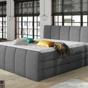 Boxspring completo con cabecero de cama+ somieres arcón + colchón + cubrecolchón VERONE - gris claro - 160x200cm