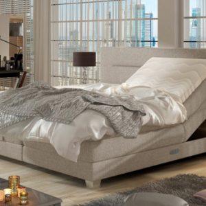 Boxspring completo cabecero elevable + somieres + colchón + cubrecolchón PRIVILEGE de DREAMEA - Tela beige - 2x80x200cm
