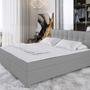 Boxspring completo con cabecero + somieres + colchón + cubrecolchón SIERO de DREAMEA - 180x200 cm - tela - gris