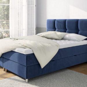 Cama con cabecero + somier arcón + colchón + cubrecolchón GALANT de DREAMEA - 160x200 cm - Terciopelo azul