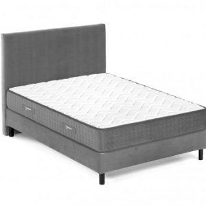 Cama con cabecero + somier + colchón ROCHAMBEAU de DREAMEA - 160x200 cm - Gris