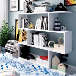 Estantería baja TOMINI - 3 estantes - Color: blanco