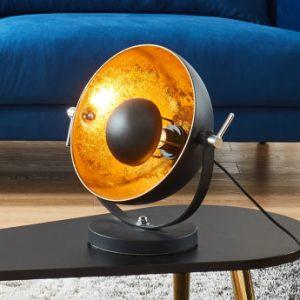 Lámpara de mesa de cine de estilo industrial MOVIE - Alt. 37 cm -Interior dorado y exterior negro de la marca INSIDE ART