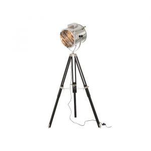 lampara pie plata negro acero y madera 84 x 160 kd boston 1