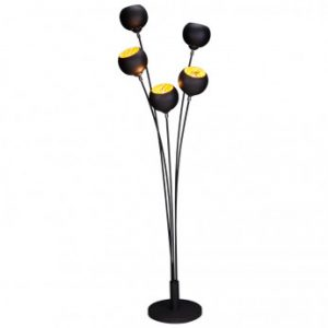 Lámpara ASTRAL - 5 luces - Alt. 170 cm - Negro y dorado