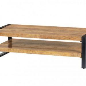 Mesa de centro HARLEM - Doble tablero - Madera de mango y metal