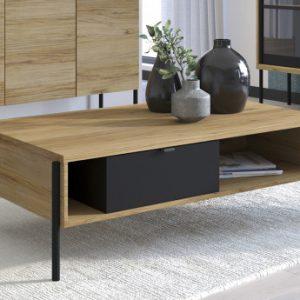 Mesa de centro industrial MEMPHIS - 1 cajón y 2 estantes - Color   castaño y negro