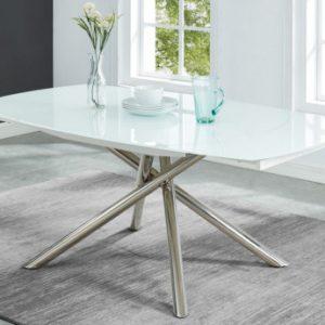 Mesa de comedor extensible CAMELIA - Cristal templado y metal- Blanco