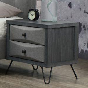 Mesa de noche con patas de metal COSTANZA - 2 cajones - Tela gris