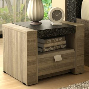 Mesa de noche METEORITE - 1 cajón y 1 estante - MDF tablero con efecto granito