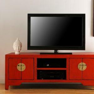 Mueble de TV FOSHAN - 4 puertas & 2 huecos - Madera de pino - Rojo