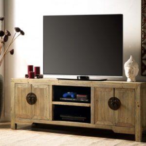 Mueble de TV TRAPANO - 4 puertas y 2 huecos - Madera de pino - Natural
