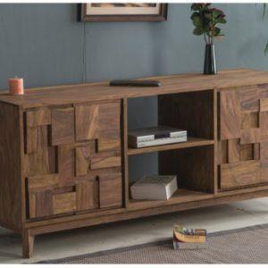 Mueble TV VILMA - 4 puertas y 2 huecos - Madera de sheesham