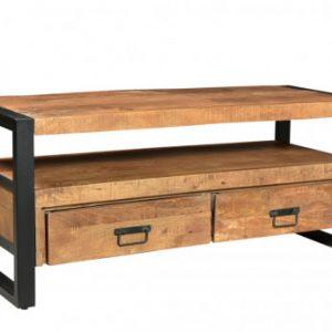 Mueble TV HARLEM - 2 cajones y 1 estante - Madera de mango y metal
