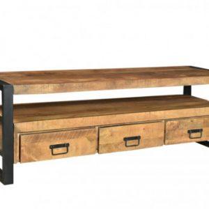Mueble TV HARLEM - 3 cajones y 1 estante - Madera de mango y metal
