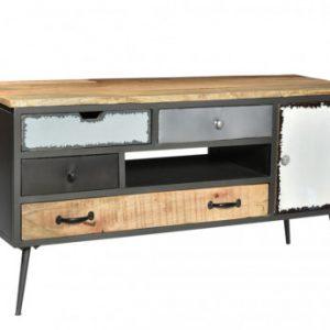 Mueble TV CHAPLIN - 4 cajones y 1 puerta - Madera de mango y metal
