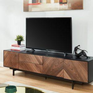 Mueble TV ISMAEL - 3 puertas y 2 cajones - MDF - Nogal y negro