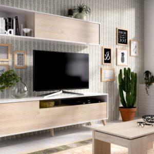 Mueble TV ALBORA - Con compartimentos - Color: blanco y roble