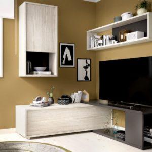 Mueble TV modulable GAMBIE - con compartimentos - Color: antracita y roble