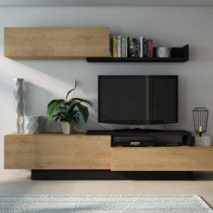 Mueble TV MONTY con compartimentos - Color roble y antracita