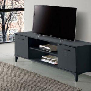 Mueble TV SEATTLE - 2 puertas y 2 estantes - MDF - Color: antracita