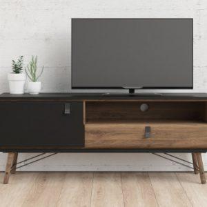 Mueble TV FURESO - 1 puerta y 1 cajón - Color: nogal y antracita