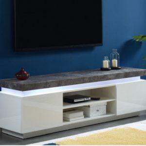 Mueble TV HALO - 2 puertas - MDF lacado - Con LEDs - Blanco y cemento