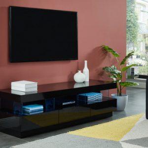Mueble TV FABIO - MDF lacado negro - LEDS - 3 cajones & 3 huecos