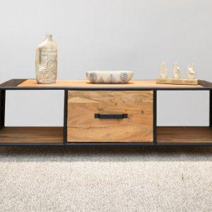 Mueble TV CHICAGO - 1 cajón y 2 estantes - Acacia y metal