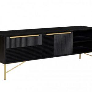 Mueble TV CHANDRA - 2 puertas y 2 estantes - Madera de acacia y metal - Negro y dorado