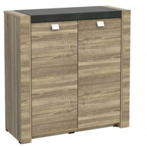 Mueble zapatero METEORITE - 2 puertas - MDF con tablero con efecto granito