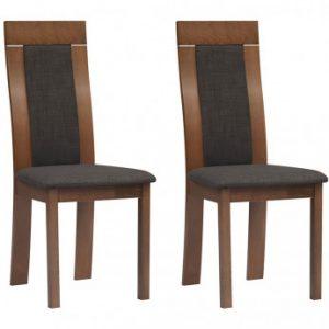 Lote de 2 sillas BELINDA - Madera de haya y tela - Color: nogal y antracita