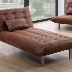 Chaise longue de microfibra envejecida HORNET - Caramelo vintage