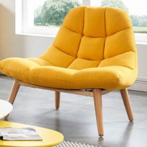 Sillón KRIBI de tela - Amarillo