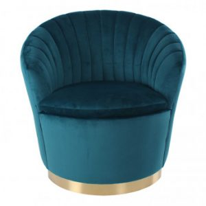 Sillón de terciopelo TULIP - Azul y base dorada de metal